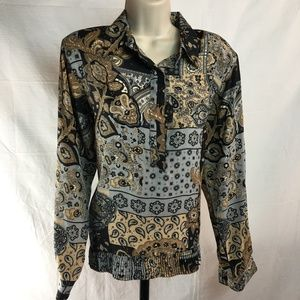 Alfred Dunner Blouse 10 Black Brown Gray